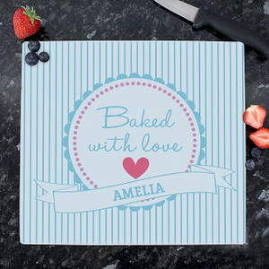 Personalised Baked With Love Glass Chopping Board From Something Personal