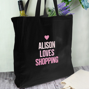 Personalised Pink Text Black Cotton Bag From Something Personal