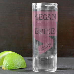 Personalised Pink Banner Shot Glass From Something Personal
