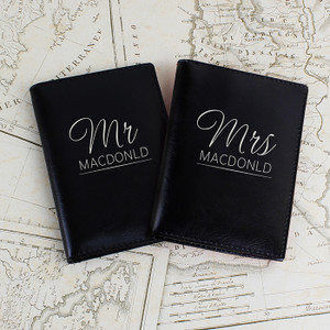 Personalised Mr & Mrs Black Passport Holders From Something Personal