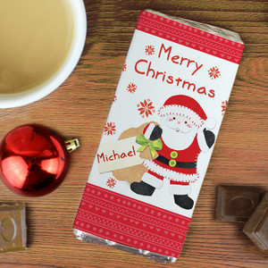 Personalised Felt Stitch Santa Chocolate Bar From Something Personal