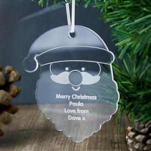 Personalised Acrylic Santa Decoration From Something Personal