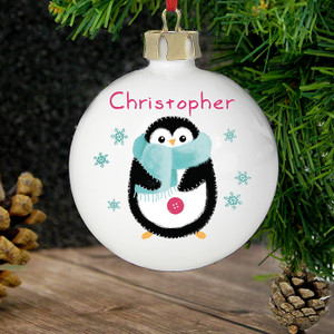 Personalised Felt Stitch Penguin Bauble From Something Personal