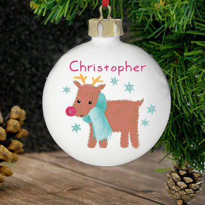 Personalised Felt Stitch Reindeer Bauble From Something Personal