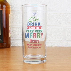 Personalised Merry Christmas Bright... Hi Ball Glass From Something Personal