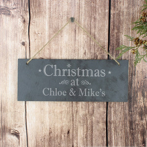 Personalised Christmas Slate Door Sign From Something Personal
