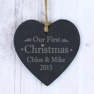 Personalised Our First Christmas Slate Heart From Something Personal