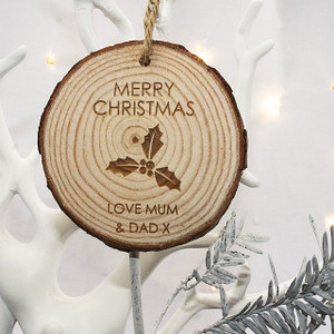 Personalised Christmas Holly Hanging Decoration From Something Personal
