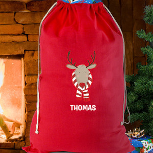 Personalised Retro Reindeer Cotton Sack From Something Personal