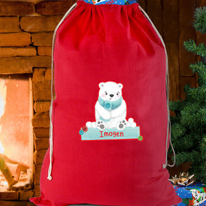 Personalised Polar Bear Cotton Sack From Something Personal