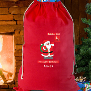 Personalised Father Christmas Red Cotton Sack From Something Personal