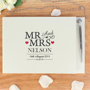 Personalised Mr & Mrs Guestbook & Pen From Something Personal