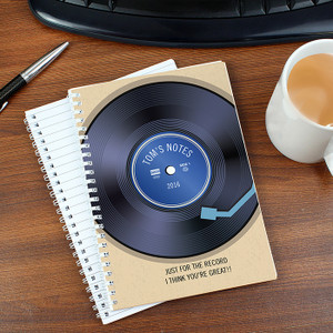 Personalised Retro Vinyl Notebook From Something Personal