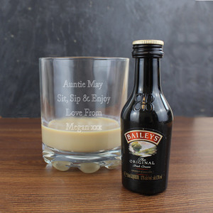 Personalised Whisky Glass & Baileys Miniature Set From Something Personal