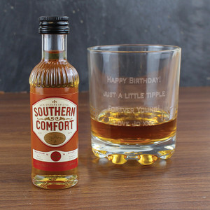 Personalised Whisky Glass & Southern Comfort Miniature Set From Something Personal