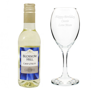 Personalised White Wine & Wine Glass Set From Something Personal