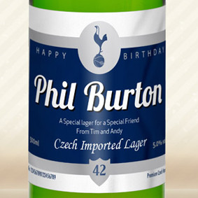 Personalised Spurs Lager With Birthday Label From Something Personal