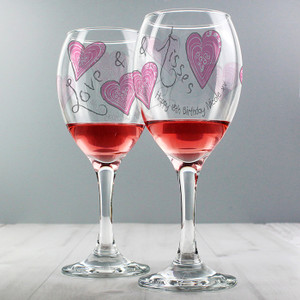 Personalised Love & Kisses Wine Glass From Something Personal