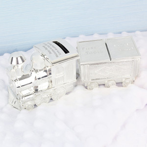 Personalised Train Money Box With Tooth & Curl Trinket From Something Personal