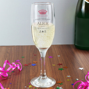 Personalised Champagne Crown Glass Flute From Something Personal