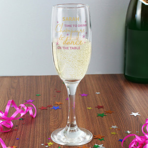 Personalised Time To Drink Glass Flute From Something Personal