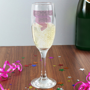 Personalised Pink Banner Glass Flute From Something Personal