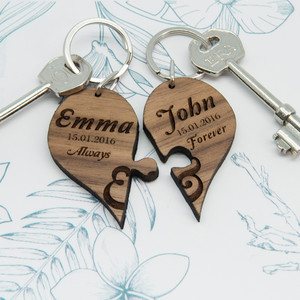 Personalised Always & Forever Couples' Jigsaw Keyring From Something Personal