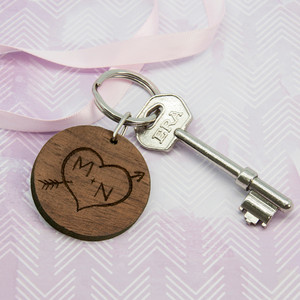 Personalised Carved Tree Round Wooden Keyring From Something Personal