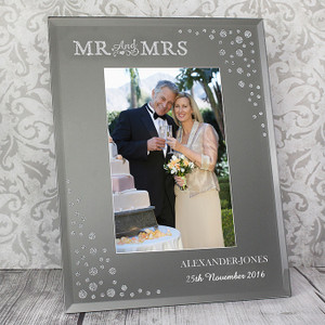 Personalised Mr & Mrs Diamante Glass Photo Frame From Something Personal