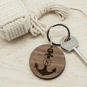 Personalised Anchor Round Wooden Keyring From Something Personal