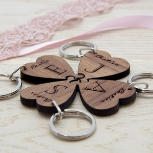 Personalised Besties Lucky Clover Wooden Keyring From Something Personal