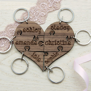Personalised Bridesmaid Heart Jigsaw Keyring From Something Personal