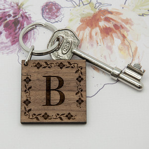 Personalised Floral Frame Initial Keyring From Something Personal