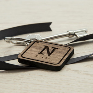 Personalised Square Wooden Keyring From Something Personal