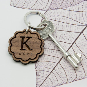 Personalised Floral Wooden Keyring From Something Personal