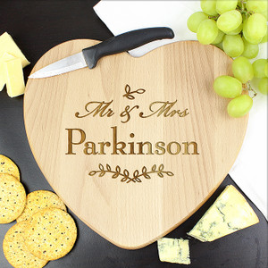 Personalised Mr & Mrs Leaf Heart Chopping Board From Something Personal
