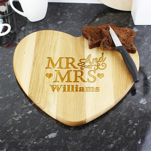 Personalised Mr & Mrs Heart Chopping Board From Something Personal