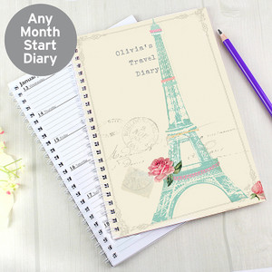 Personalised Eiffel Tower A5 Diary From Something Personal