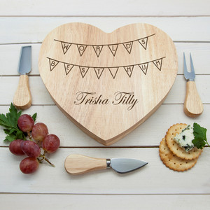 Personalised World's Best Mum Bunting Cheese Board From Something Personal