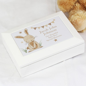 Personalised Hessian Rabbit Wooden Jewellery Box From Something Personal