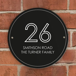 Personalised Black Number & Name House Sign From Something Personal