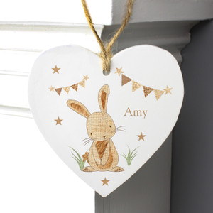 Personalised Hessian Rabbit Wooden Heart Decoration From Something Personal