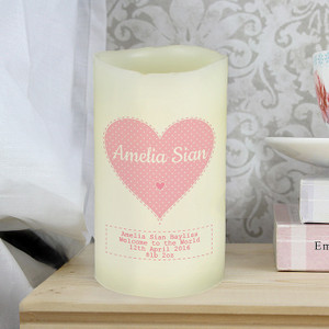 Personalised Stitch & Dot Girls LED Candle From Something Personal