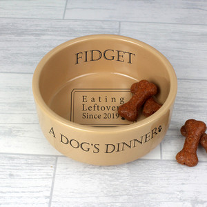Personalised A Dogs Dinner Medium Brown Dog Bowl From Something Personal