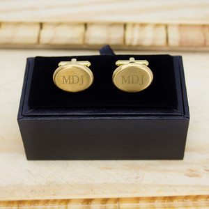 Personalised Matte Finish Brushed Gold Oval Cufflinks From Something Personal