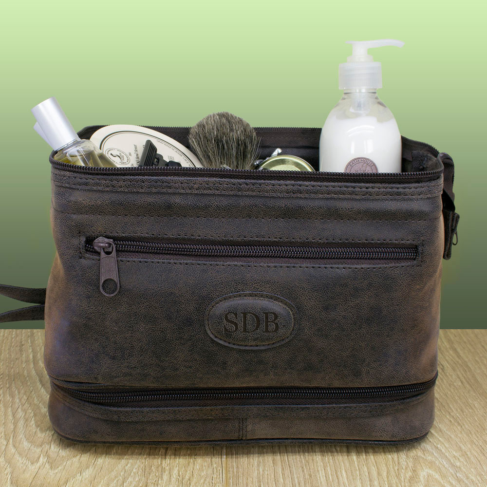 ed366226d0 Loading zoom. Personalised Men s Expandable Suede Textured Wash Bag From  Something Personal