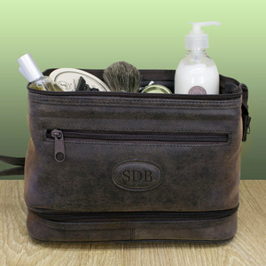 Personalised Men's Expandable Suede Textured Wash Bag From Something Personal