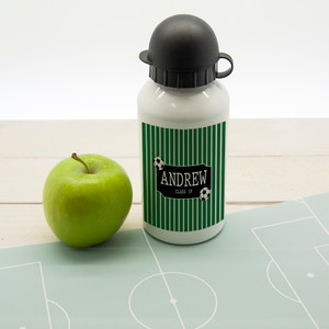 Personalised Boys Football Striped Water Bottle From Something Personal