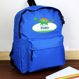 Personalised Dinosaur Blue Backpack From Something Personal