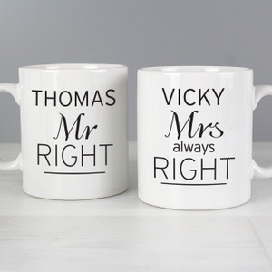 Personalised Classic Mr Right/Mrs Always Right Mug Set From Something Personal